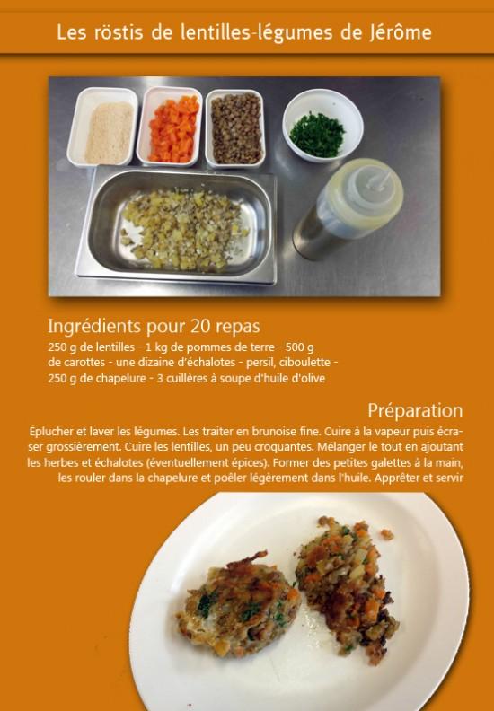 Un Plus Bio recette röstis lentilles légumes