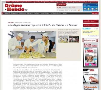 Article Drôme hebdo Un Plus Bio