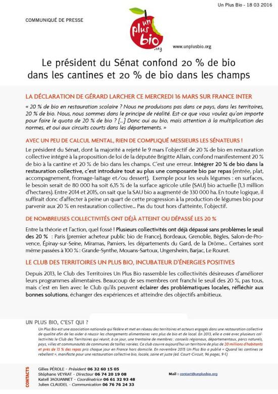 Communiqué Un Plus Bio - Gérard Larcher et le bio dans les cantines