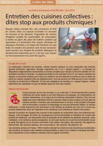 La fiche technique d 39 un plus bio stop au tout chimique for Fiche technique de fabrication cuisine collective