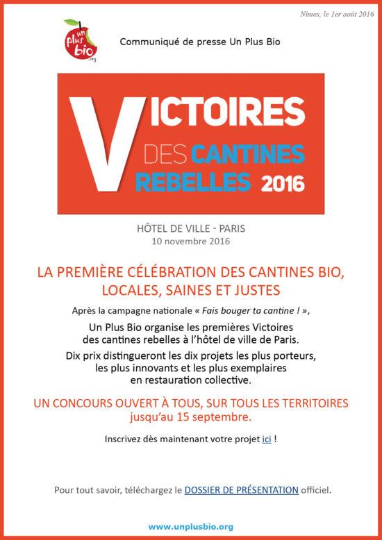 CP Un Plus Bio Victoires cantines rebelles 2016